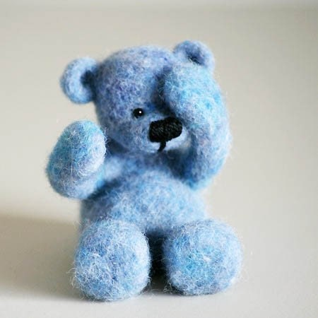 Blue teddy bear, handmade little shy teddy from beautiful blue organic wool - forestbluefactory