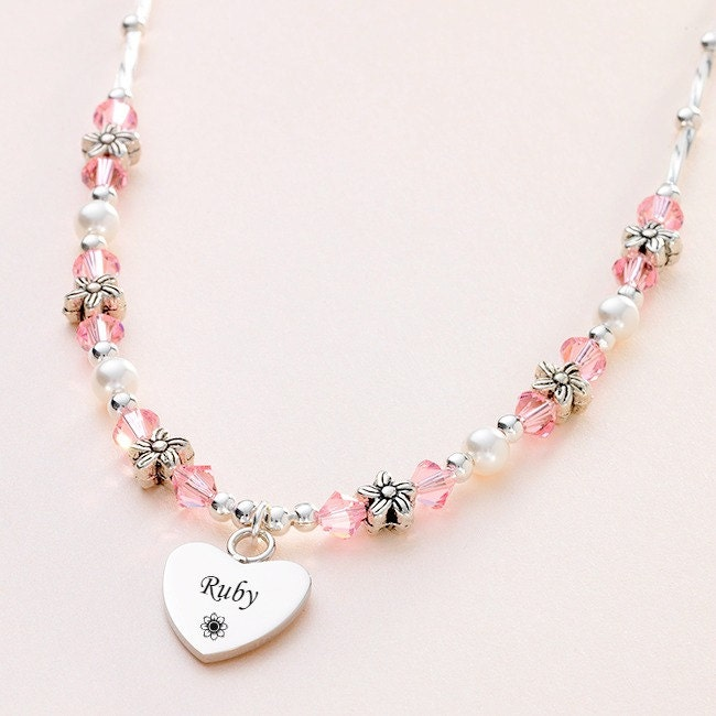 Flower Girls Engraved Birthstone Necklace with Tibetan Flowers. Any Name or Words.