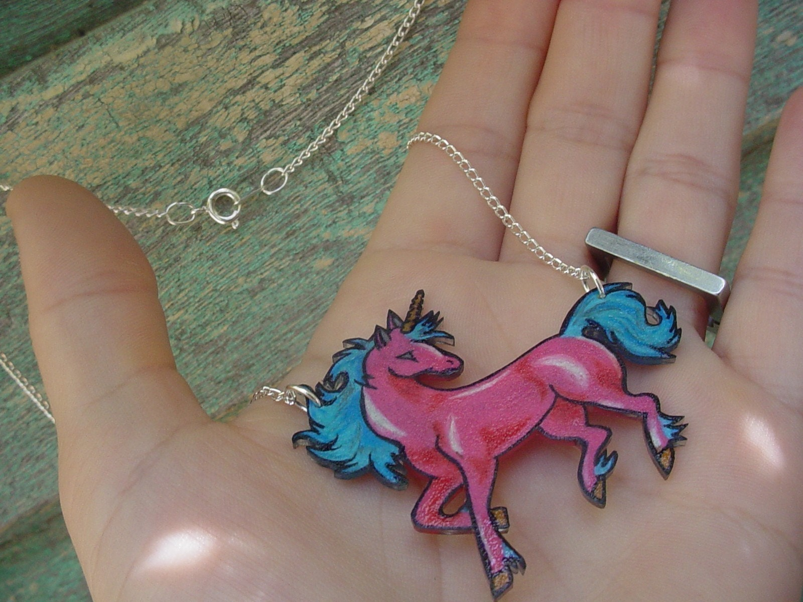 hot pink and blue magical unicorn necklace