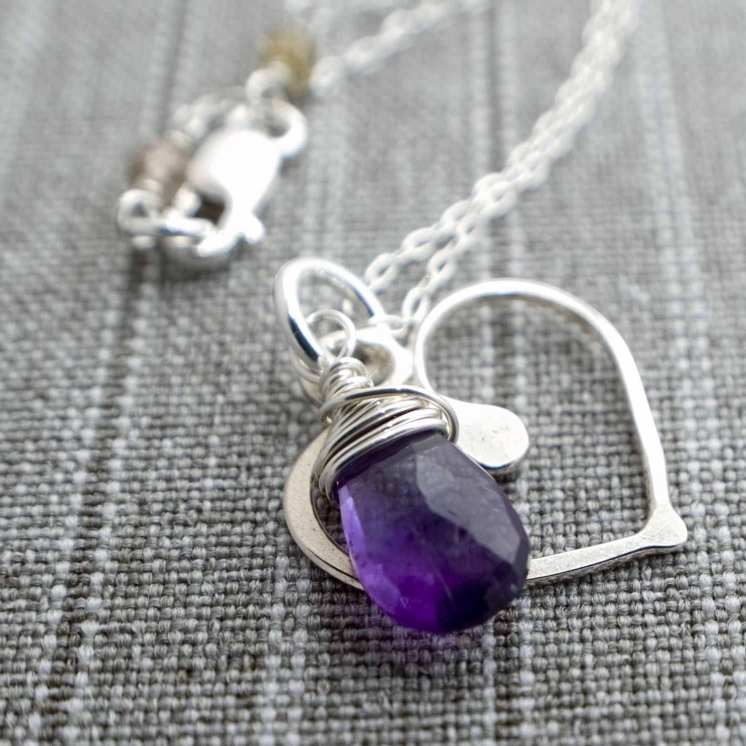 Shape of my Heart Necklace - Amethyst and Sterling Silver