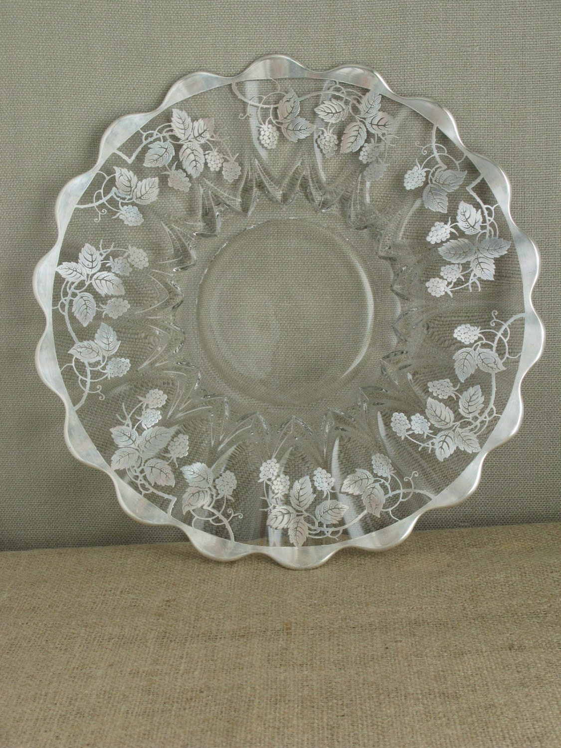 1920s Cake Plate with Sterling Silver Overlay