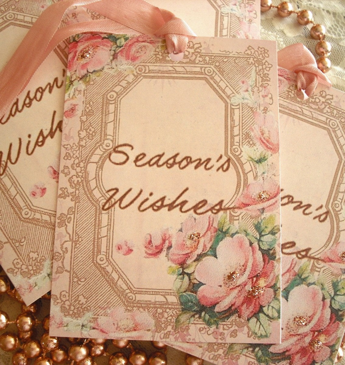 NEW ITEM... VINTAGE INSPIRED PRETTIEST PINK SEASON'S WISHES GIFT TAGS