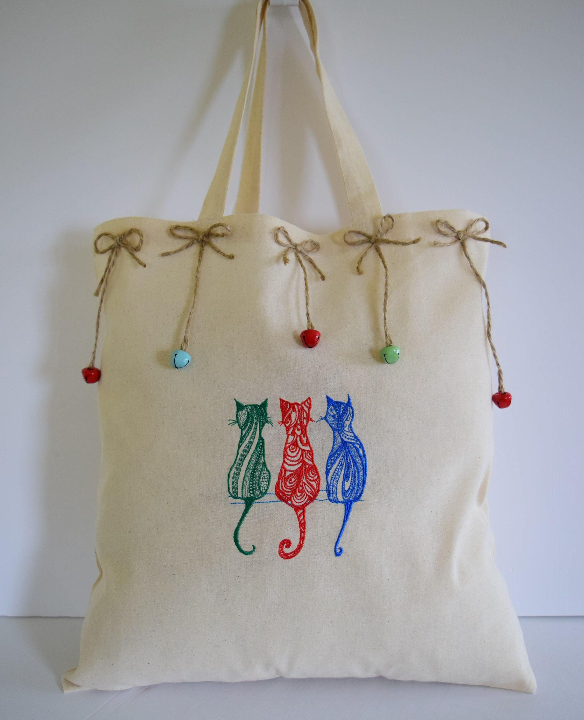 Cat Bag Shopping Bags Mosaic Embroidered Shopper Reusable Bag Eco Friendly Recycled Cotton Calico Grocery Market Tote