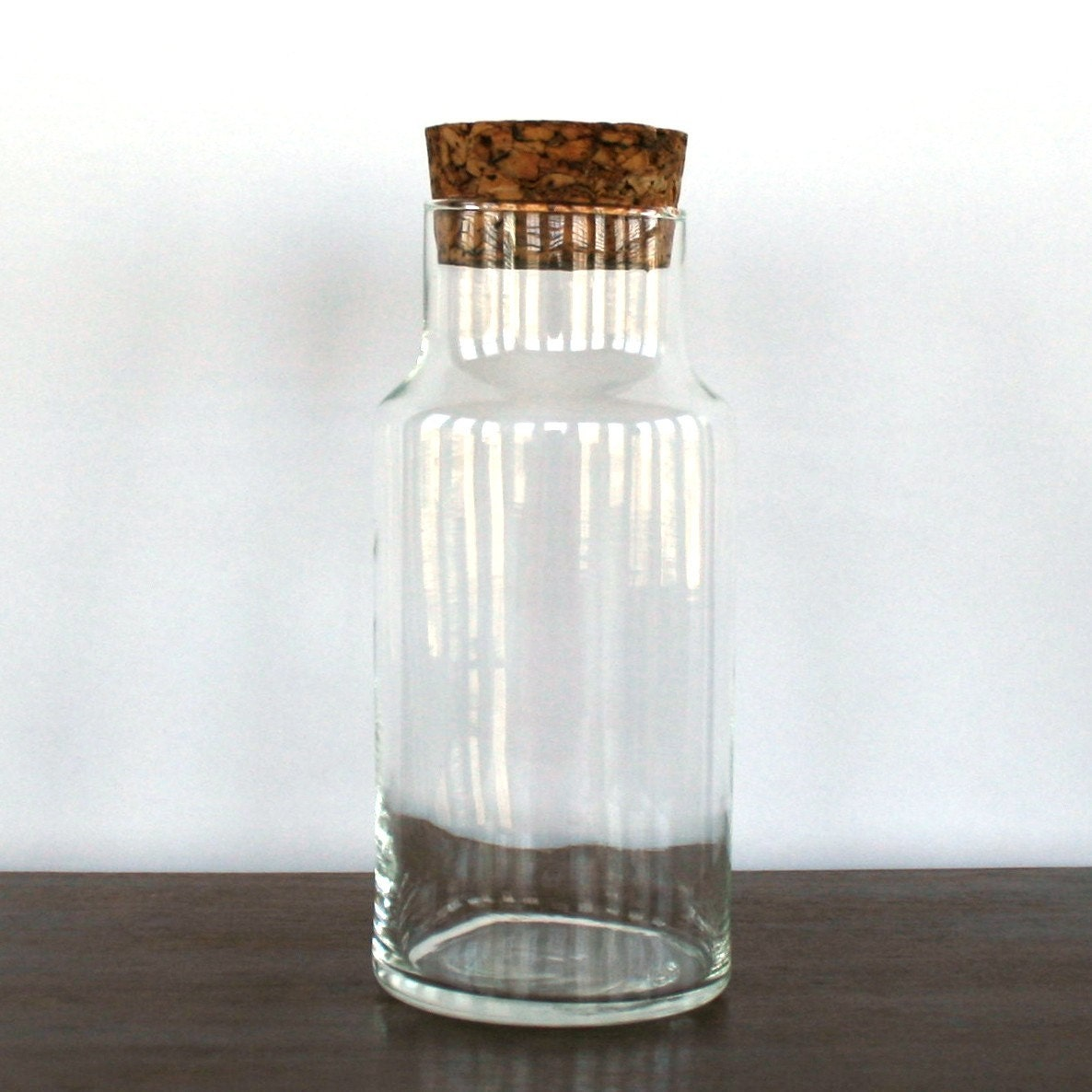 Glass Carafe Canister With Cork Lid By Rhapsodyattic On Etsy
