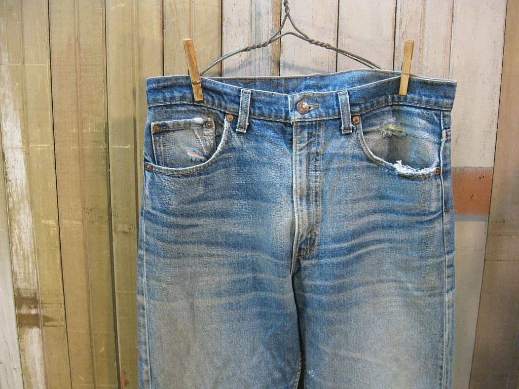 Levis 505 Vintage Blue denim Jeans USA authentic Wear hige 34 32