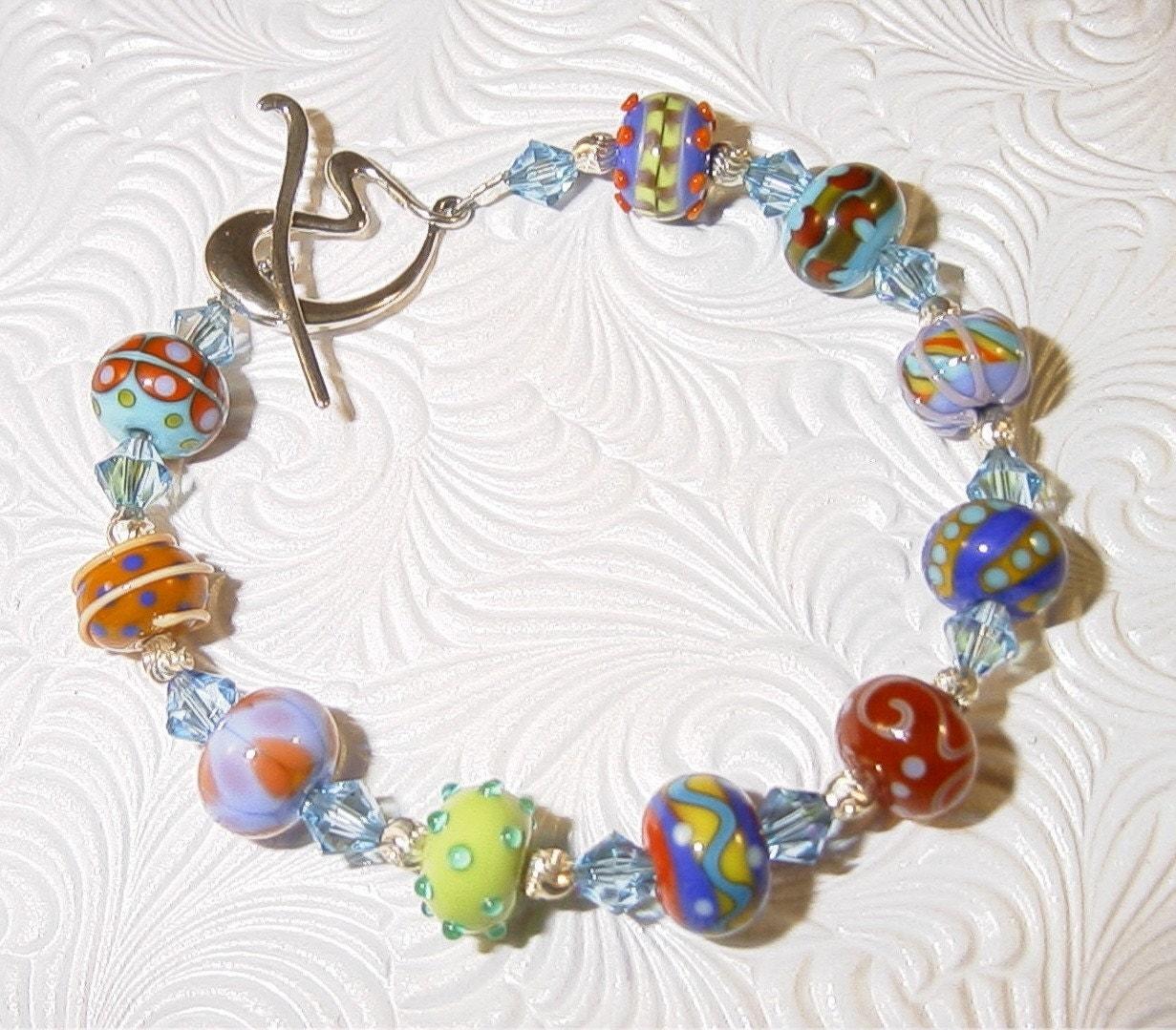 Summer Fun Lampwork and Swarovski Crystal Bracelet