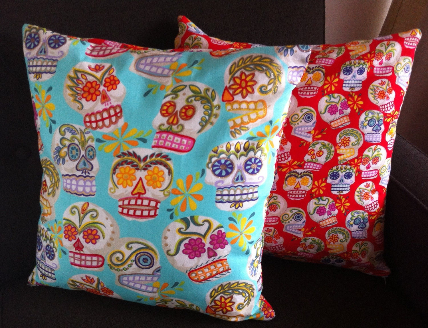 Sugar Skull Collection: Dia de los Muertos 16x16 decorative pillow with poly insert