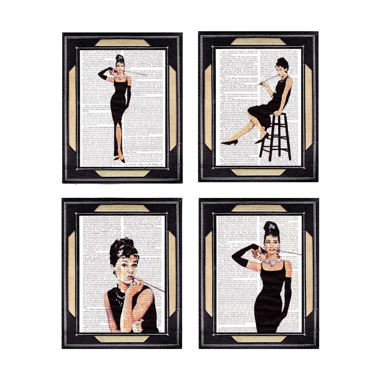 AUDREY HEPBURN Collection II 4 prints on vintage old book text page, breakfast at Tiffany's, black white beige, unframed color print 5x7