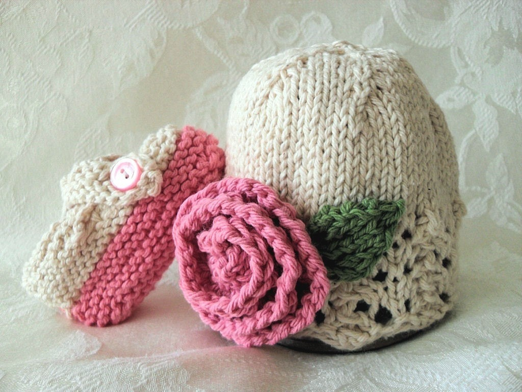 COTTON HAND KNITTED Rose on an Ivory Cloche with Matching Cross-strapped Booties