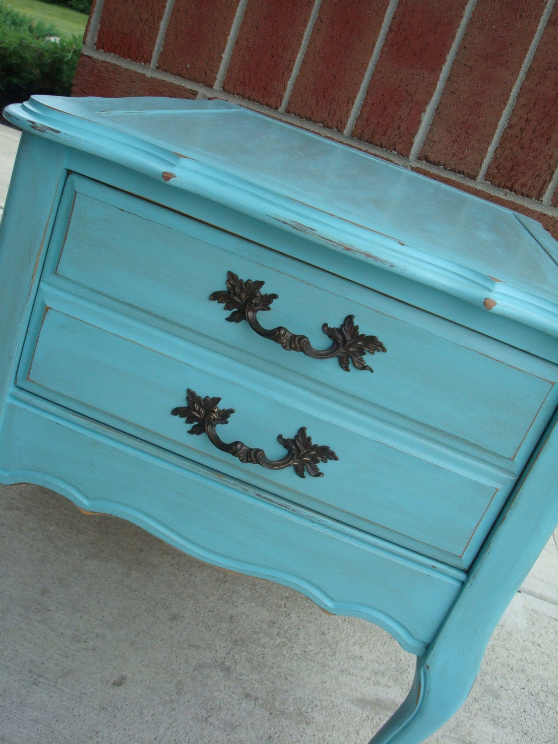 PRICE REDUCED Vintage Shabby French Turquoise Repurposed Blue Side Table