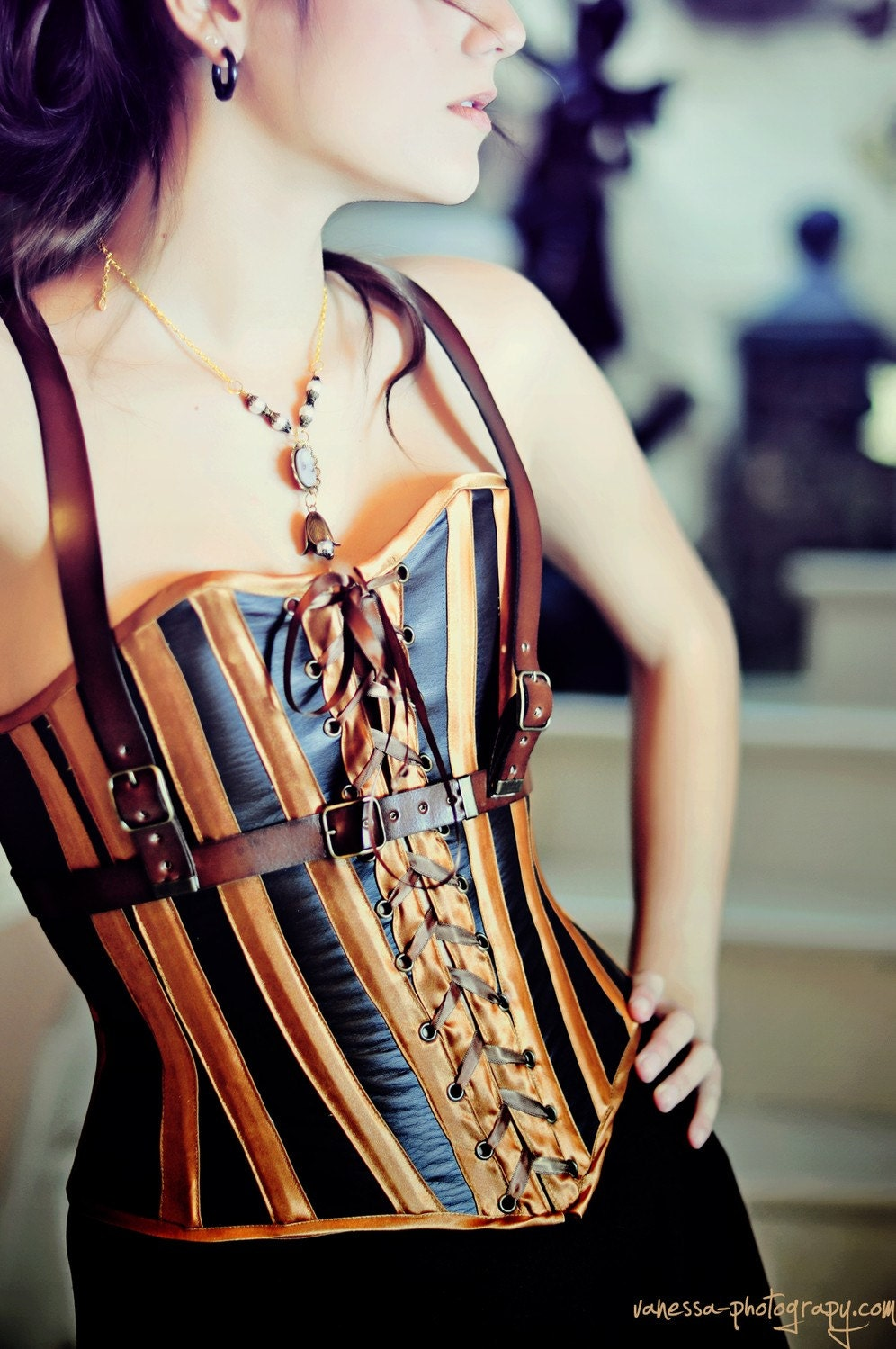 Steampunk corset in faux leather