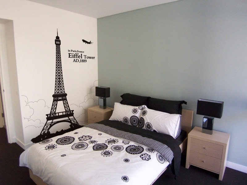 Wall Decals Eiffel Tower Wall Stickers Home by WallDecalsTime