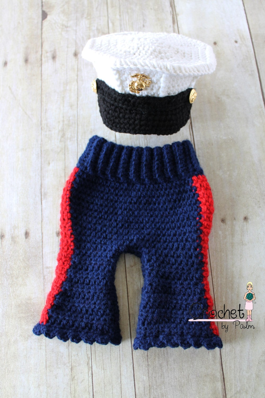 Crochet Baby Marine Hat Pattern : Original Design Crochet USMC Blues Cover and by ...