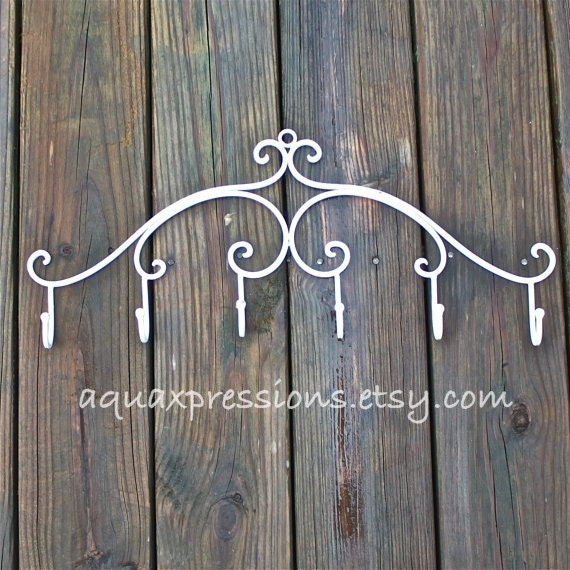 Wall Hook Hanger /White /Metal Decor /Jewelry by AquaXpressions