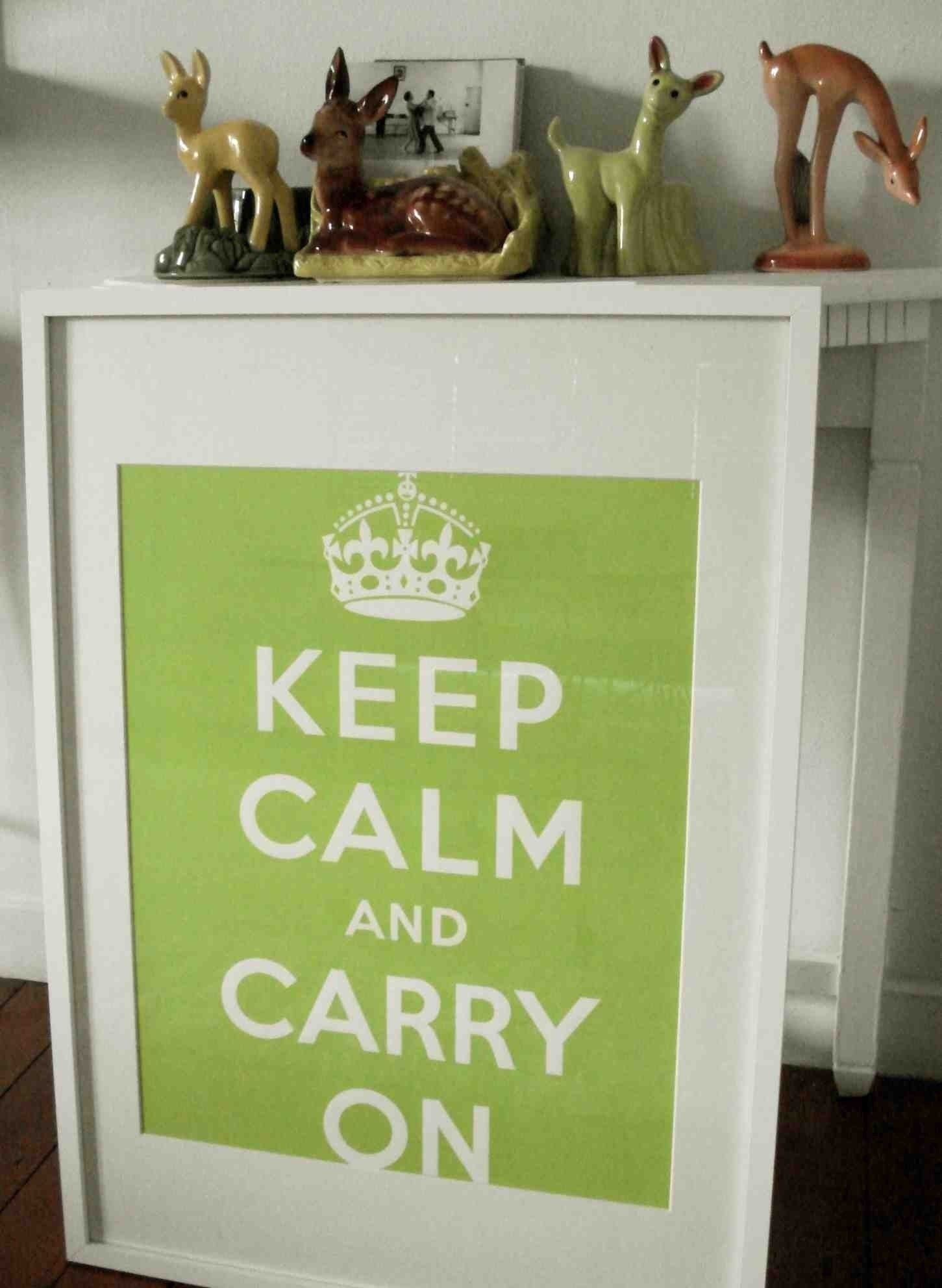 Keep Calm And Carry on Poster - Chartreuse Green.