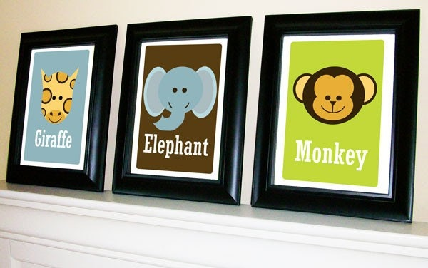 Set of 4 Jungle Safari Animal Prints 11 X 14
