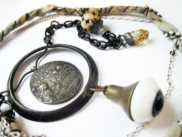 After Many Dark Nights. Cosmic Victorian Tribal Pendant Necklace with Druzy, Virgin Mary, Galaxy Nebula.