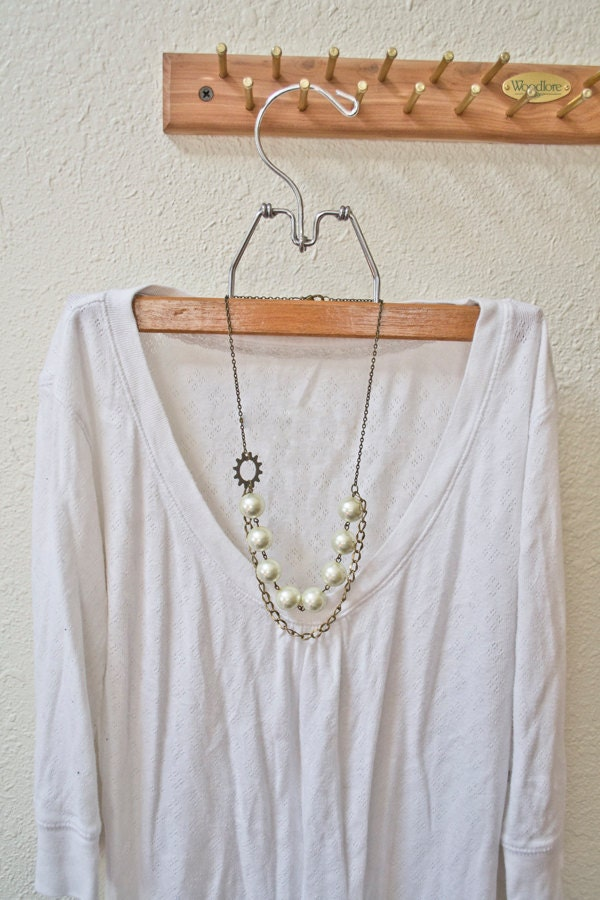 Gear, Chain, and Large Pearl Double Strand Necklace