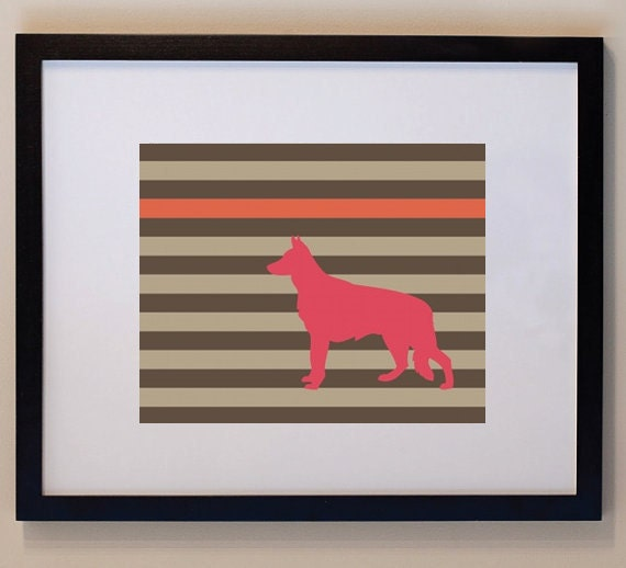 German Shepherd Silhouette Dog Print 8 x 10, dog art