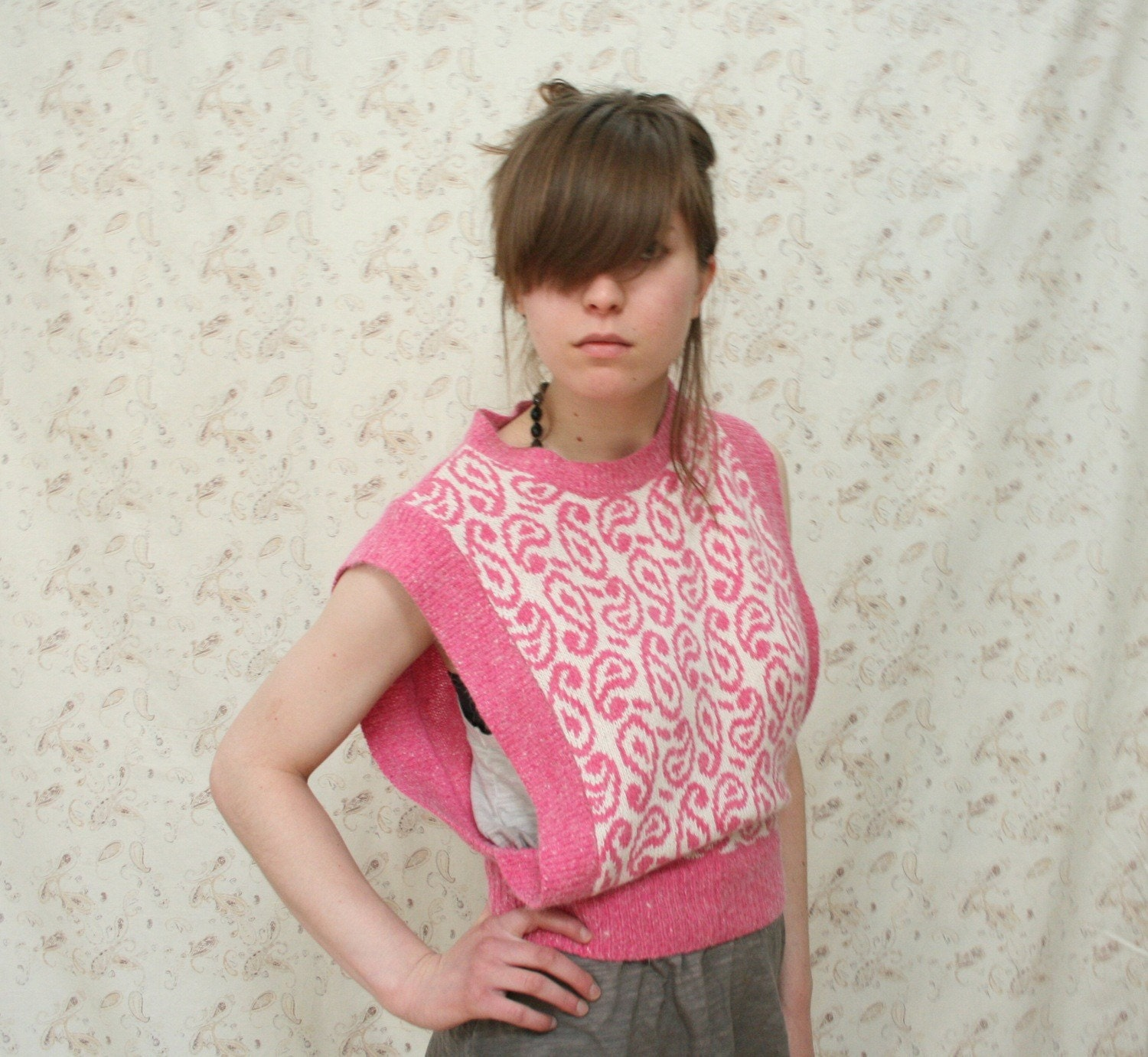 80s Pink Swirls Sweater Vest, sz. S