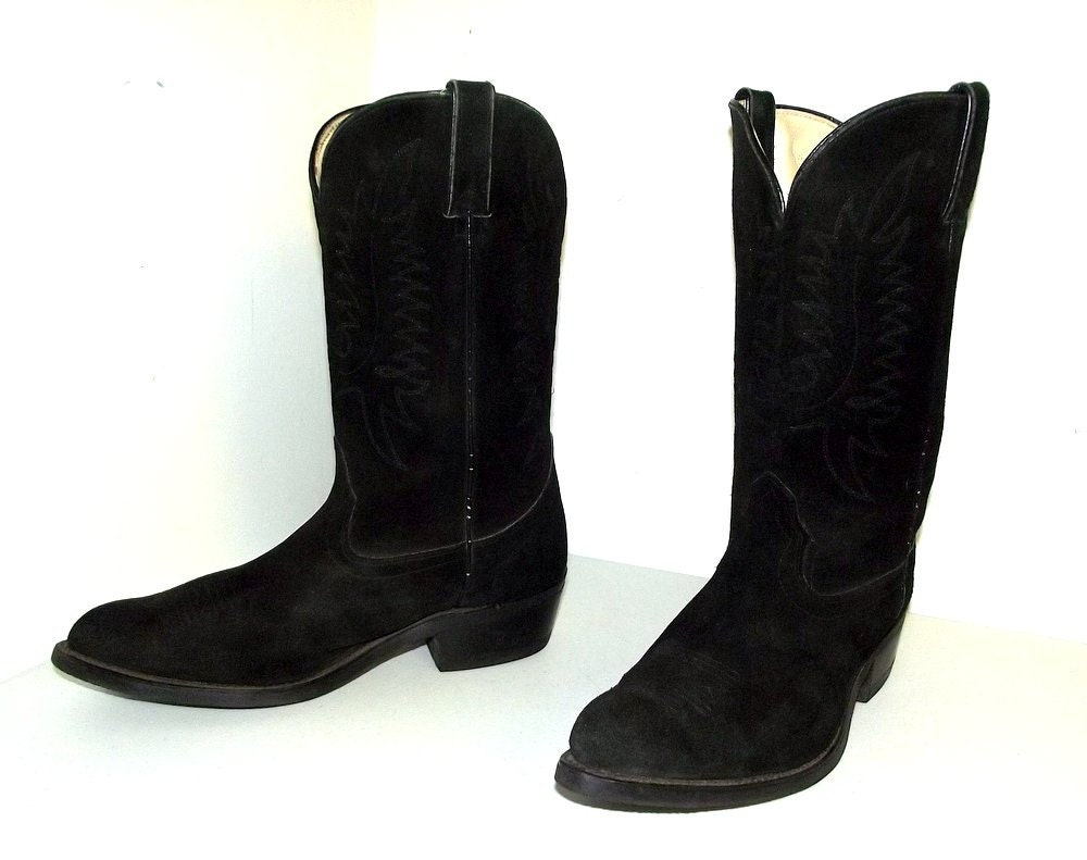 black on black suede leather cowboy boots by