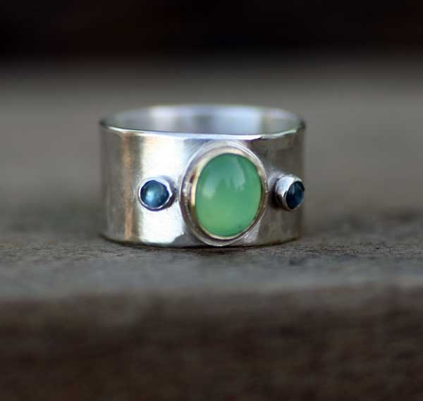 MEDIEVAL PRINCESS Sterling Silver Chrysoprase and Blue Topaz Ring
