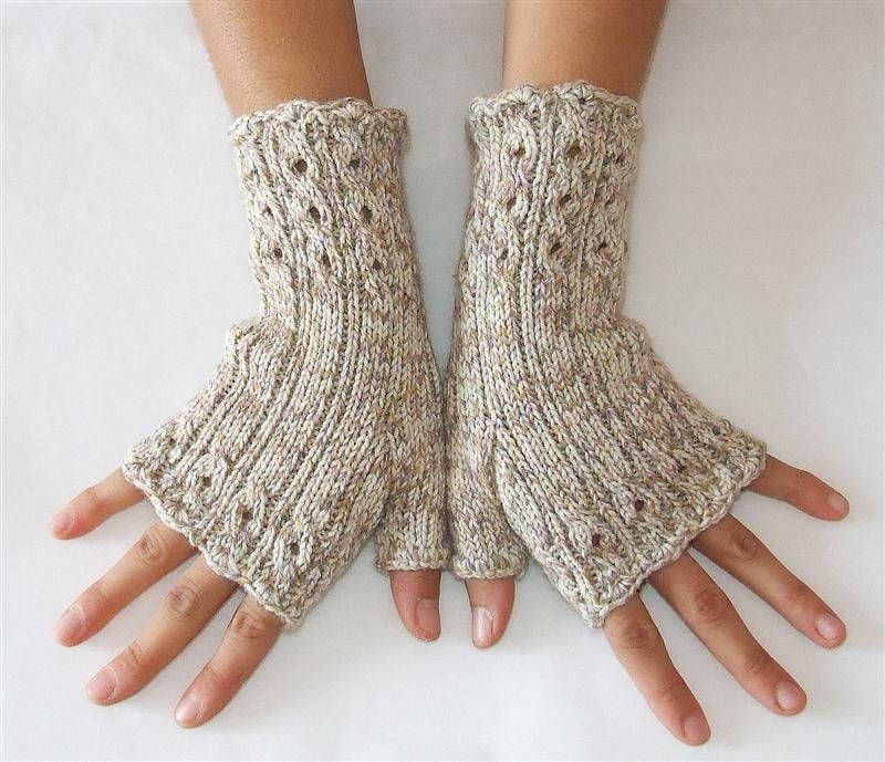 Elegant Fingerless Gloves  -  Cables and Lace  -  Melange