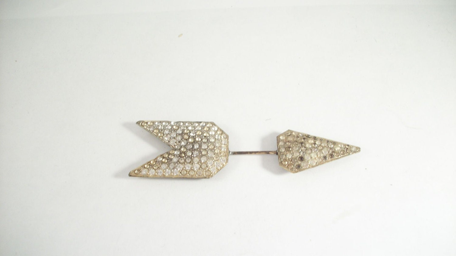 Arrow Art Deco Gold Tone White Stones Collar Pin or Hat Pin - 5339 - 2ndSisters