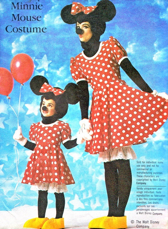 1980s Minnie Mouse Costume Pattern Simplicity 7730 By