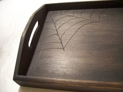 Creepy Wood Spider web Tray/ Haunted gothic wood burned decoration/ aged gift