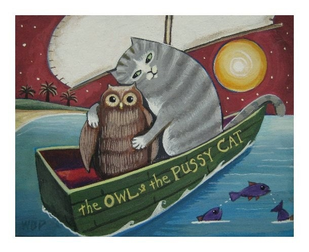 THE OWL and the PUSSYCAT Signed PAINTING PRINT Folk Art Charm CAT BOAT OWL BIRD