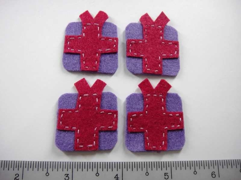 Felt Applique - GIFT - 4 PCS - Handmade