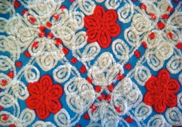 Hurray For The Red, White and Blue Rare Vintage Cotton Chenille Fabric