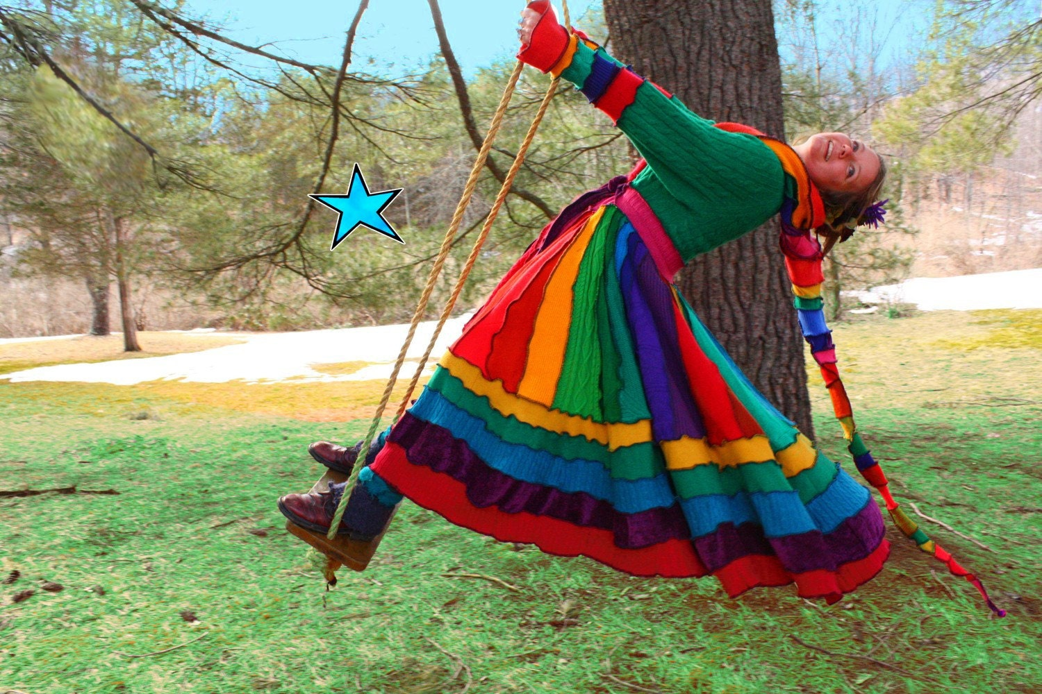 Katwise Dream Coat made from Upcycled Sweaters  - Recycled Elf couture -RESERVED FOR Deb -- MeDiUm - EXTRA LONG Green Rainbow spring traveling Dream Hoodie made from repurposed reconstructed jumpers