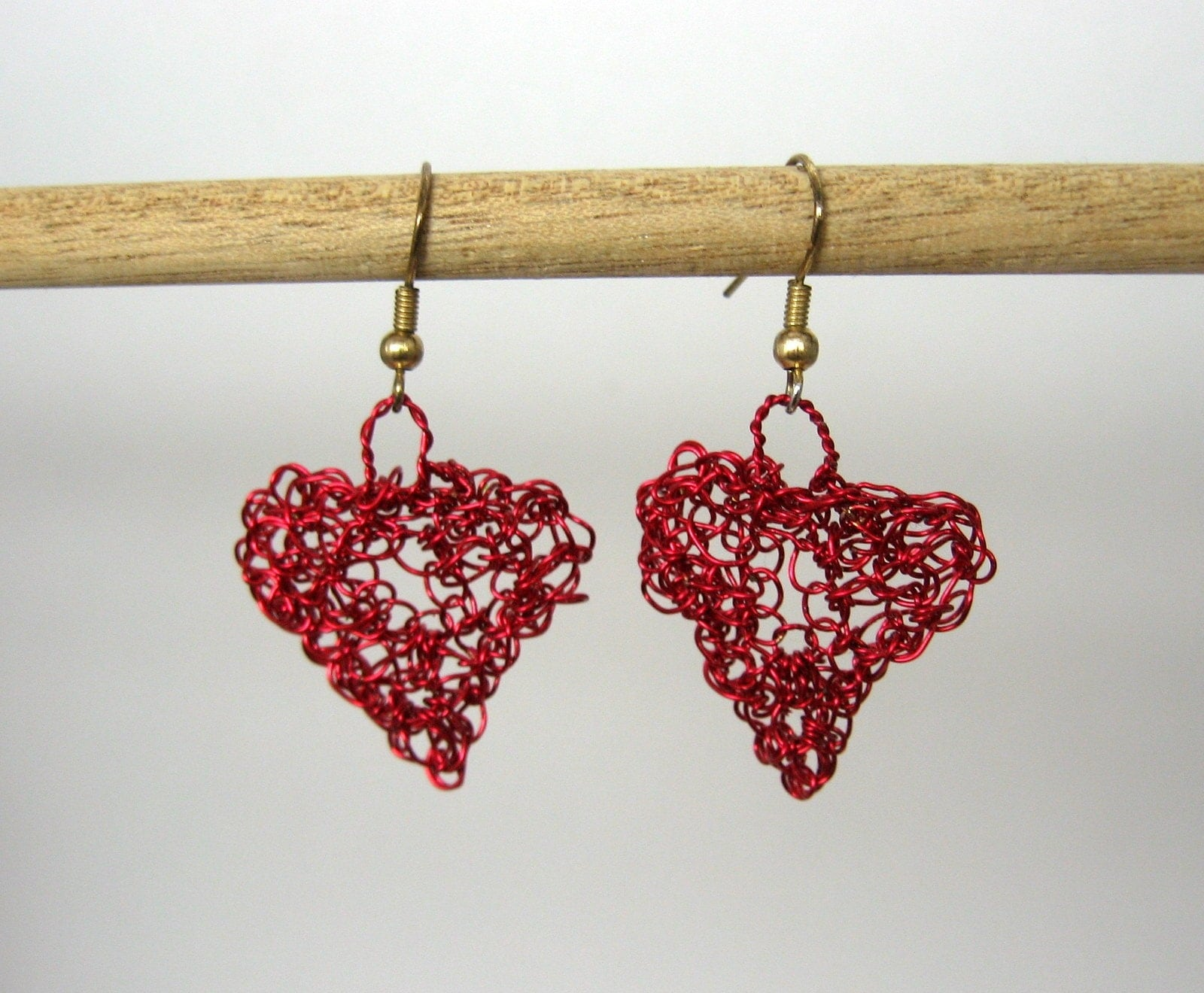 Hearts of Red - crocheted wire earrings