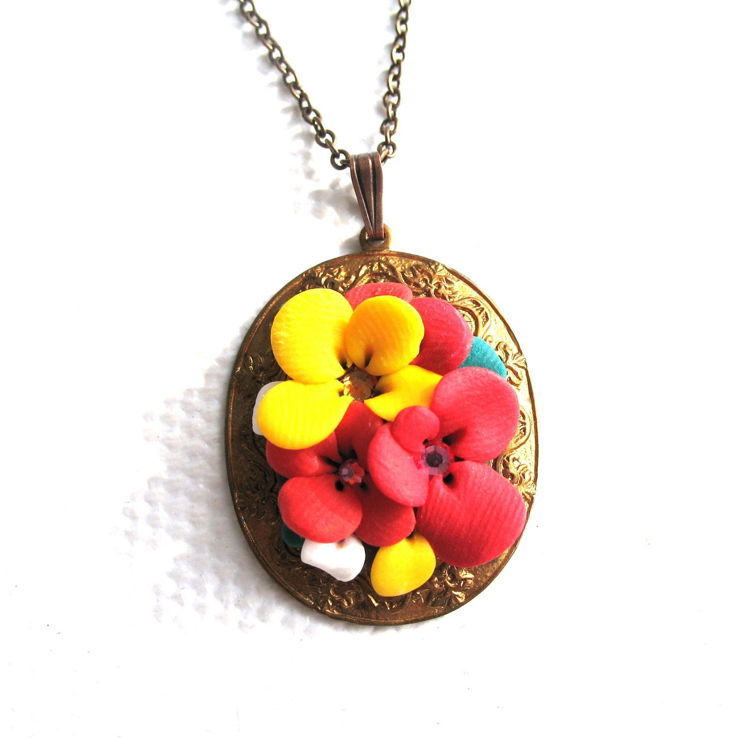 Emma - Victorian frame pendant with clay flower detail, 22mm x 25mm
