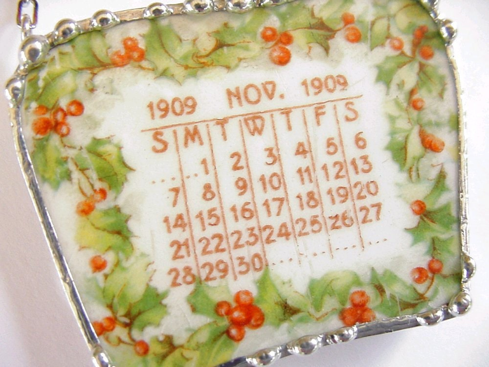 Broken China Jewelry necklace November 1909 antique calendar plate holly