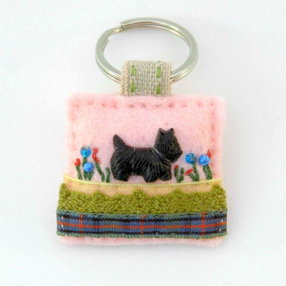 scottish terrier scottie keyring scotty scottie dog pet keyring  decorative gifts black dog accessory pink felt keyring black westie