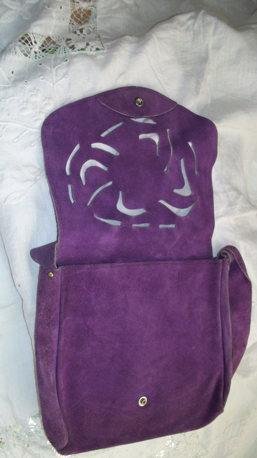 Vintage 1970s Purple Suede Purse with a Lacey Cutout Front Flap Super Cute Hippy Style Reserved for LoveStreetVintage