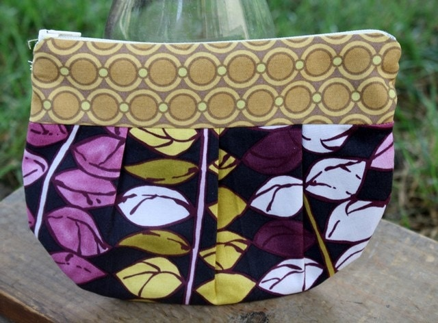 handmade yellow-purple zippered pouch