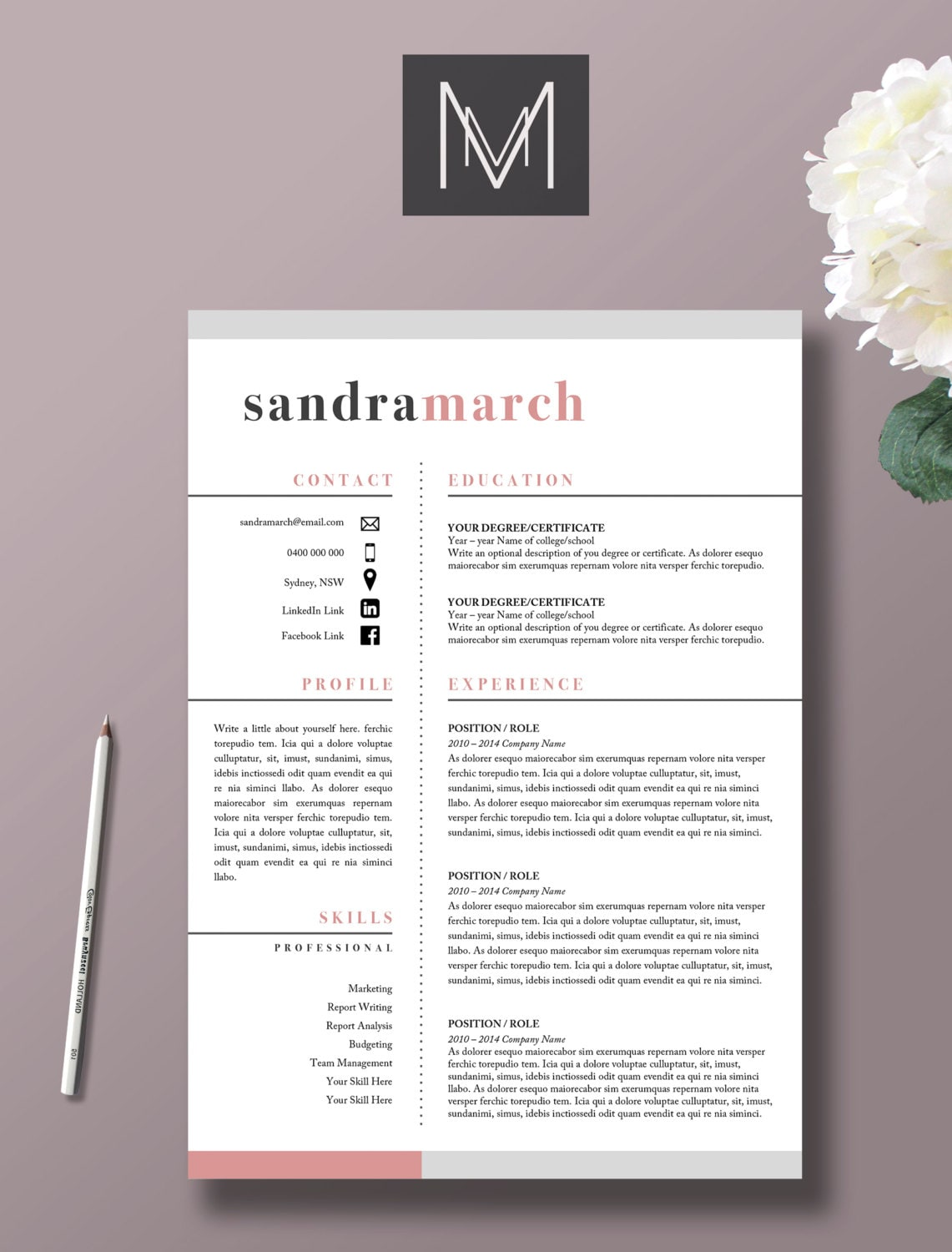 modern day 2 page resume template thevillas co