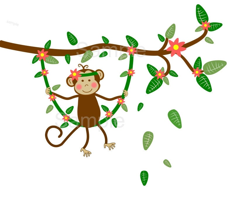 Jungle Monkey Swinging On Branch Vine Wall Decal By
