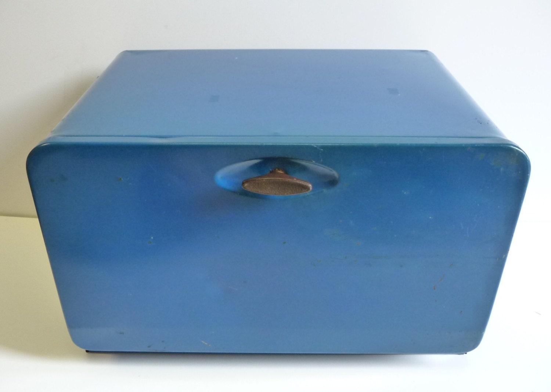 Vintage Metal Bread Box Blue Retro Kitchen Large By