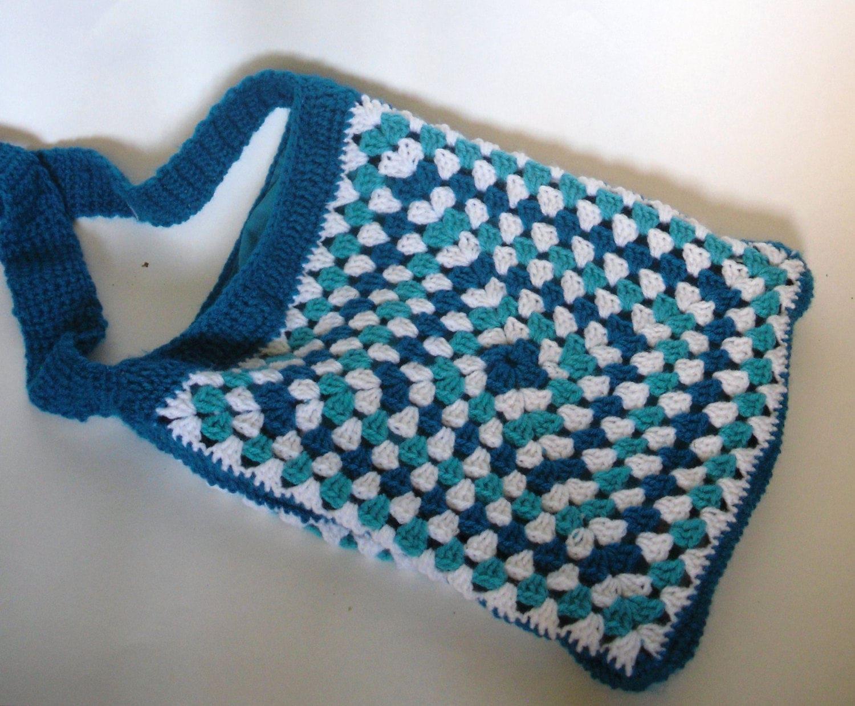 Crochet Bag Blue Aqua and White Granny Square bag