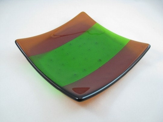 Fused Glass Sushi Plate - Amber Green