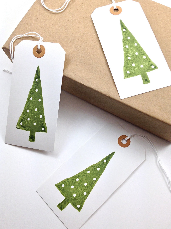 Large Gift Tags - Hang Tags - White Cardstock - Handmade - White Polka Dot Christmas Trees - Set of 8 - everydaysaholiday
