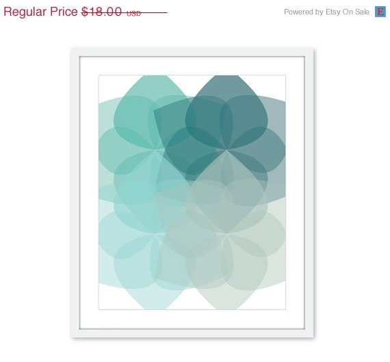 CIJ SALE 15% OFF Geometric Flowers - Digital Print - Modern Home Decor - Retro Modern - Teal Blue Seafoam - Customizable Colors - AldariArt