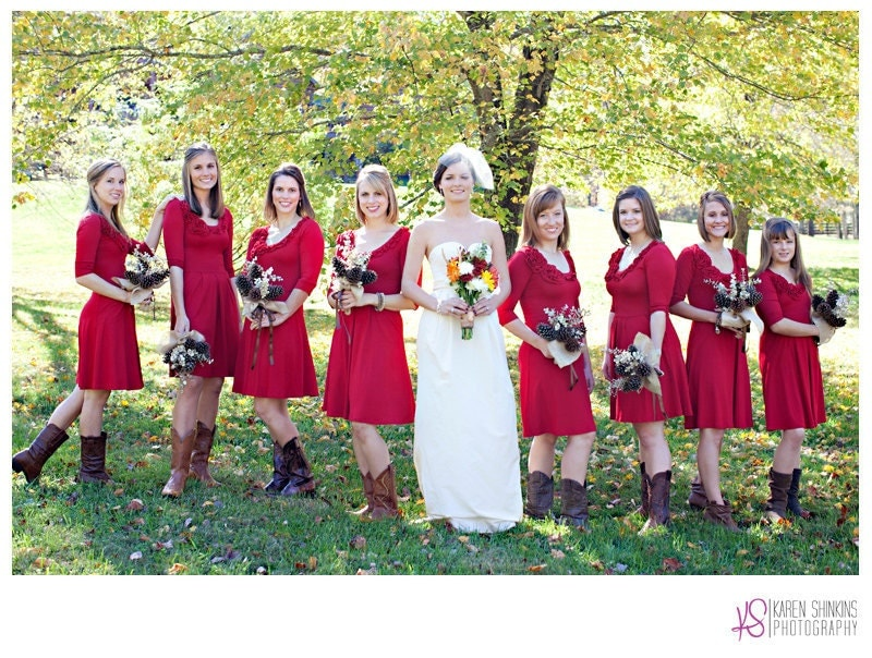 cute fall wedding red dresses sunflower bouquets and cowboy boots - Fall Colored Bridesmaid Dresses
