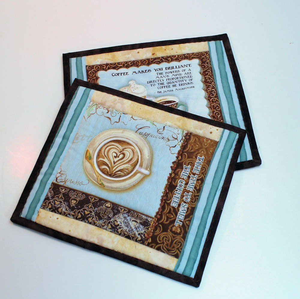 Coffee Mug Rugs Or Coasters Or Pot Holders Set By