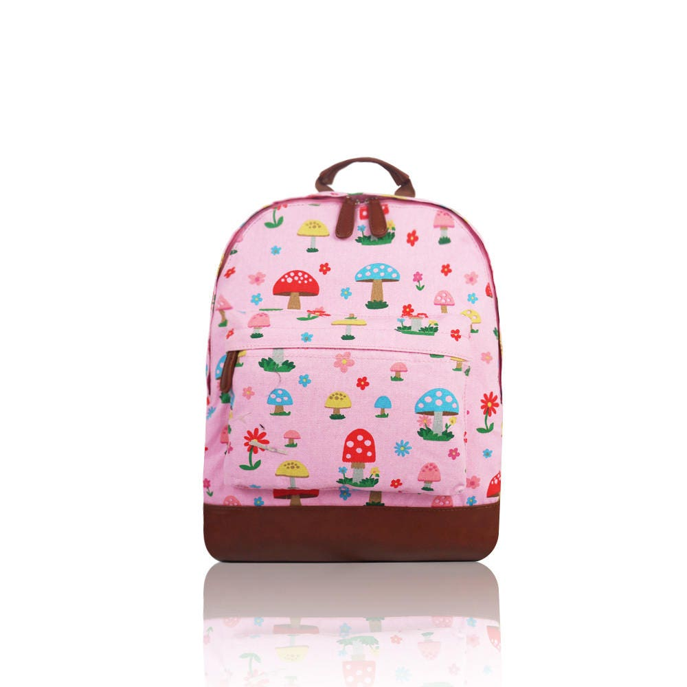 Personalised Pink Mushroom Print Backpack  rucksack magical fairy toddler preschool ditsy personalized bag embroidered